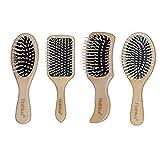 Unishop Set de 4 Cepillos de Pelo de Madera, Peines para Cepillado Antiestático, Cepillos para Pelo Saludable