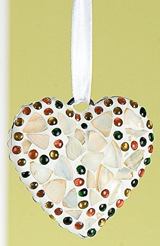 GILDE Dekohänger Hängedeko Fensterdeko Türdeko Herz im Muscheldesign mit Glasmosaik, 16x29 cm