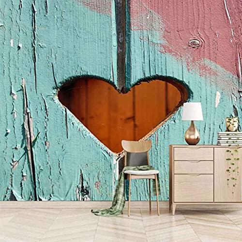FVGKYS Papel Pintado Moda Personalizado Murales Creatividad En Forma De Corazón De Tablón De Madera Fondo De Pantalla Sala De Estar Sofá Tv Fondo Pared Decoración Del Hogar 3D Autoadhesivo Pared Calco