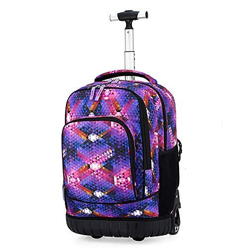 TFTREE Rollrucksack für Schulen, Trolley-Rucksäcke auf Rollen für Jungen und Mädchen, Laptop-Rucksäcke auf Rollen für Erwachsene Travel kids black wheeled backpacks Gifts-purple-A