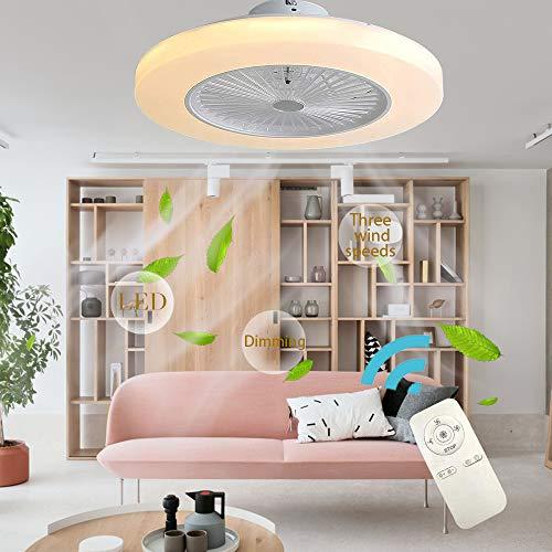 BHA Deckenventilator Leise Mit Beleuchtung LED Fan Deckenleuchte Kreative Modern Deckenlampe, 72W Dimmbar Mit Fernbedienung Für Schlafzimmer Wohnzimmer Esszimmer Kinderzimmer,Weiß