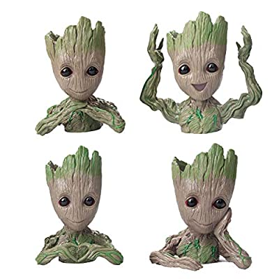 Flowerpot Treeman Baby Groot Succulent Planter Cute Green Plants Flower Pot (4 Styles in one Box)