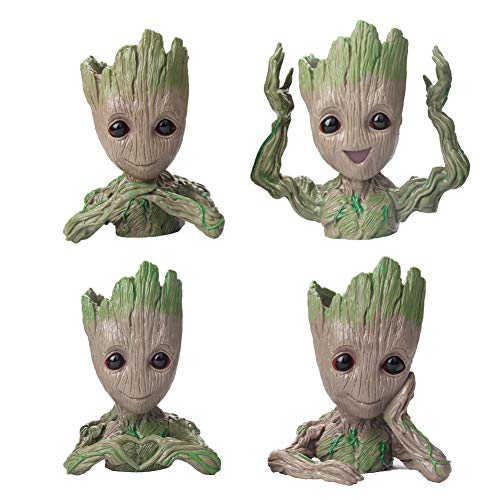 Flowerpot Treeman Baby Groot Succulent Planter Cute Green Plants Flower Pot 4 Styles in one Box