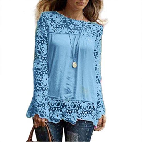 ESAILQ Damen Glitzer Spitzenbluse tailliert Schlupfbluse Stretch Chiffon gepunktet blau Coole blusen für Damen Klassische hellblau Schlupfbluse (XXXL,Hellblau)