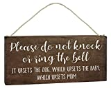 Baby Sleeping Sign for Front Door - Funny No Soliciting 6x12 Hanging Wood Plaque - Please Do Not Knock or Don't Ring Doorbell Dogs Will Bark