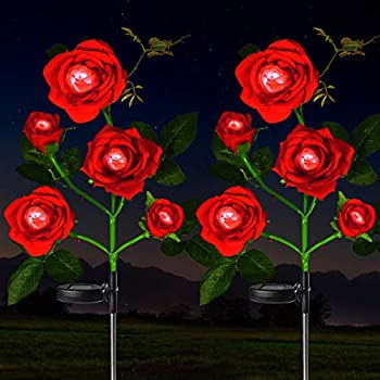 HeyMate Solar Garden Lights Outdoor 2 Pack Solar Red Rose Flower Lights with 10 Rose Flowers Solar Christmas Decorative Lights Waterproof for Backyard,Patio,Pathway,Xmas Decorations