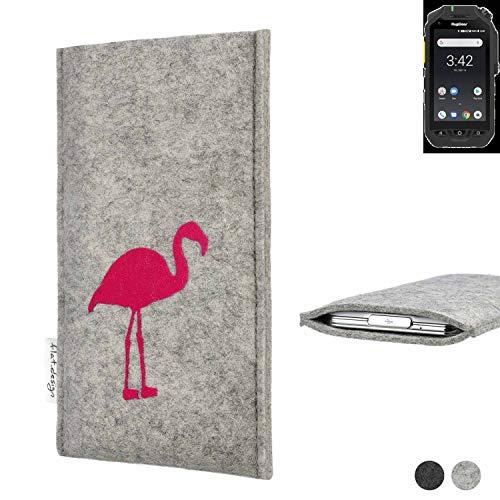 flat.design Handy Hülle für Ruggear RG725 FARO mit Flamingo Filz Schutz Tasche fair handgemacht Case