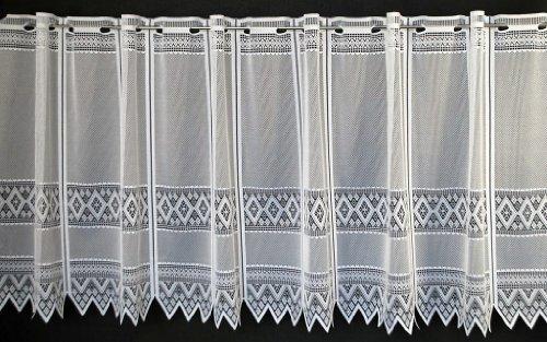 Tenda della finestra jacquard graficamente altezza 60 cm   Può scegliere la larghezza in segmenti da 13 cm, come vuole   Colore: Bianco   Tendine cucina