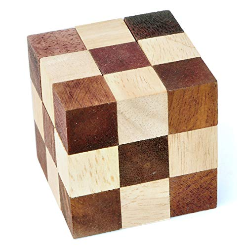 Logica Puzzles, art. SNAKE CUBE - Wooden Brain Teaser 3D - Difficulty 3/6 HARD - Mind Puzzle Cube