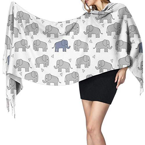 Yuanmeiju Damenmode Langer Schal Grey And Blue Elephants Large Long Wraps Soft Warm Blanket Scarves