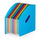 BluePower Clasificadores Carpetas de Acordeón Vertical Portátil Organizador de Archivos Retráctil,13 Bolsillos Acordeon Separadores Archivador,A4 Papeles Clasificador/Documentos Organizador(Blue)