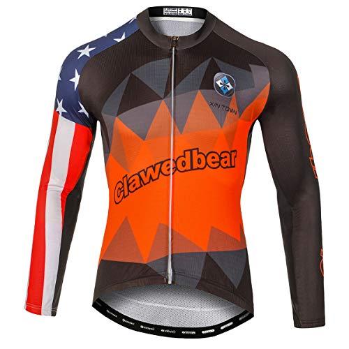 Panegy Camisetas Manga Larga para Hombre Maillot de Ciclista con Bolsillos Jerseys...