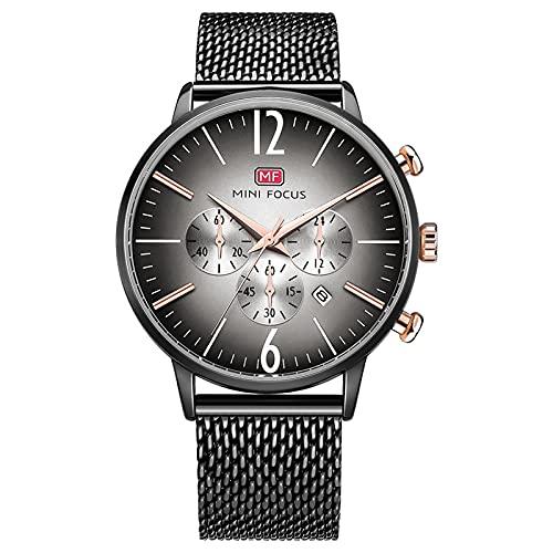 JTTM Moda Simple Reloj Analógico De Cuarzo para Hombre Ultrafino Impermeable Multifunción Calendario En Acero Inoxidable Malla Correa Negocio Relojes,Negro