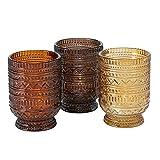 Lot de 3 photophores en verre - Couleurs assorties avec ornements en relief - Marron clair, marron foncé, beige - 10 x 7 cm