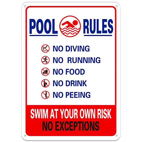 WaaHome Pool Rules Schilder No Diving No Running No Food No Drink No Peeing Swim at Your Own Risk Pool Warnschild, 25,4 x 35,6 cm