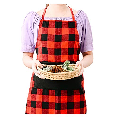 Delantal Delantal de la tela escocesa roja para las mujeres de la moda delantal delantal de la Navidad Monos de la Navidad Bolsillos delanteros Correas largas Plaid Halter Delantal Chef camarero