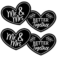 Big Dot of Happiness Mr. and Mrs. - ハートデコレーション DIY ブラック&ホワイト ウェディングまたはブライダルシャワーエッセンシャル - 20個セット