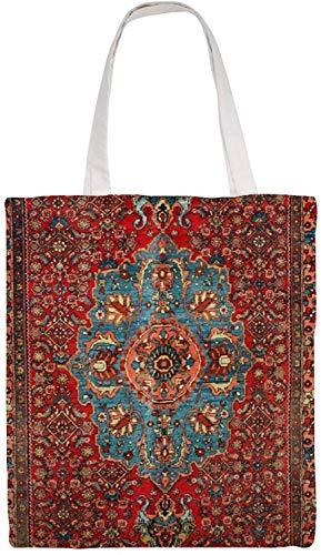 MODORSAN Idjar - Bolso de hombro persa del noroeste kurdo antiguo, bolso de mano de lona, bolsos de tela reutilizables para la compra de comestibles, bolsos de mano con impresión de doble cara