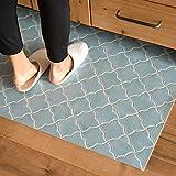 キッチンマット 181cm×60cm 拭ける フロアマット クッションフロアマット アラベスクタイル(ブルー)