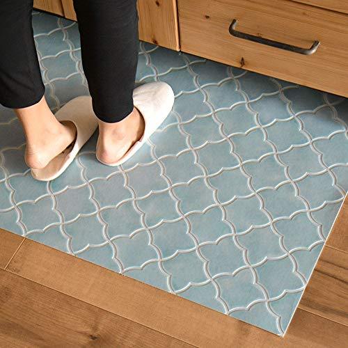 キッチンマット 249cm×60cm 拭ける フロアマット クッションフロアマット アラベスクタイル(ブルー)
