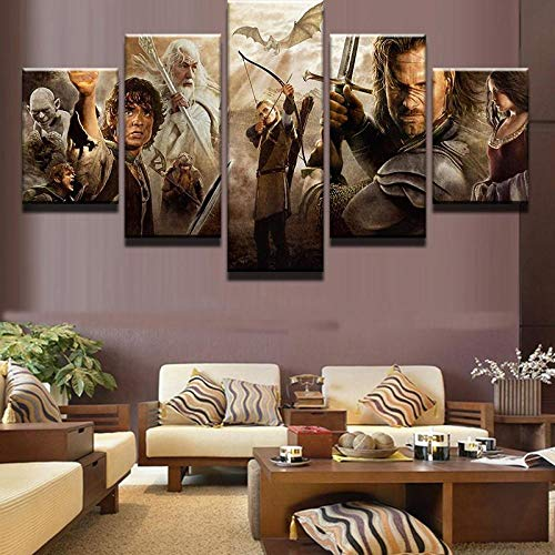 HFDSA Lienzo 5 Piezas Moderno Cuadro En Lienzo Personajes De El Señor De Los Anillos 5 Piezas Salón De Hogardecoracion De Pared Arte Pared Foto Innovador Regalo (Enmarcado)