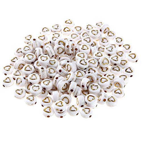 1000pcs White Gold Acrylic Heart Beads 7mm Flat Round Disc Coin Love Heart Loose Spacer Beads Charms for DIY Jewelry Bracelet Necklace Keychain Making