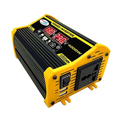 Inversor de Corriente para Coche de 12v a 220v 4000W, Convertidor Digital, Adaptador convertidor, Onda sinusoidal modificada, Dual USB con Pantalla LCD Monitor