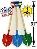Matty's Toy Stop 31' Heavy Duty Wooden Kids Sand Shovels with Plastic Spade & Handle (Red, Blue & Green) Complete Gift Set Bundle - 3 Pack