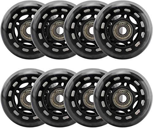 FuTaiKang 8 Pack 64mm Inline Skate Wheels Black 64mm Skates Replacement Wheels with Bearings