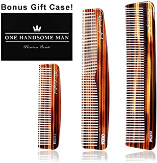 3 Set Mens Comb by One Handsome Man - Anti-Static Hair Comb, Beard Comb, and Mustache Combs For Men with Leather Case and Gift Box - Very Sexy For Him or Regalos Para Hombre [並行輸入品]