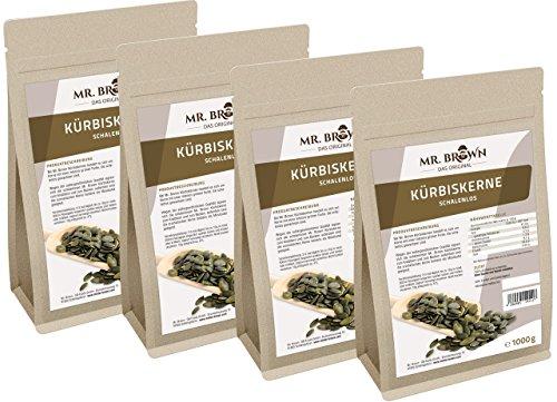 Mr. Brown Kürbiskerne ShineSkin 4 x 1 kg | 4.000 g | natur, schalenlos | eiweißreich, glutenfrei | leckere Knabberei! - Ideal auch zum Backen, Kochen und Garnieren | abgefüllt in Deutschland (4000 GR)