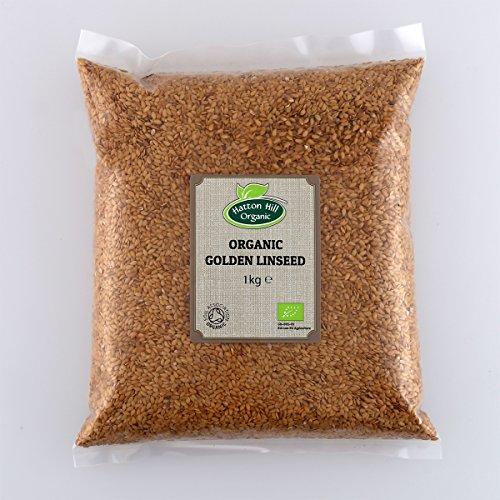 Linaza dorada orgánica (linaza) 1kg por Hatton Hill Organic - Orgánica certificada