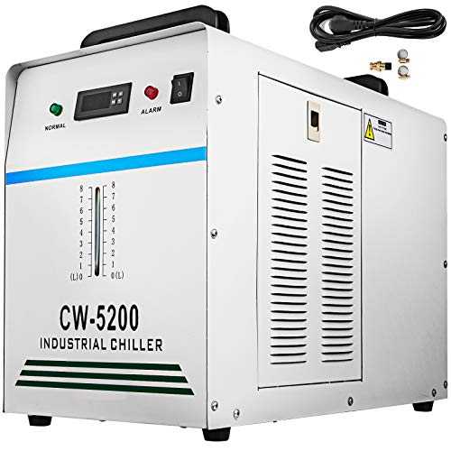 VEVOR Industrieller Wasserkühler CW-5200DG CO2 Laser Rohrkühler 6 L Wasserkühler zum Kühlen von CO2-Glaslaserröhre 220 V 10 L/Min