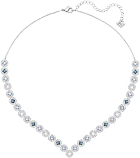Swarovski Crystal Large Multi-Colored Angelic Square Rhodium-Plated Necklace