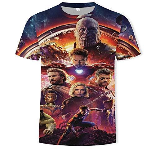 HKYH Avengers 3D Pattern Impresión Summer Camiseta con diseño de equipo de superhéroes impreso en 3D con lunares y cuello redondo, manga corta b 4XL