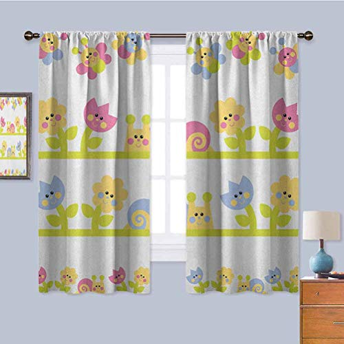 Kids Premium Blackout Curtains, Curtains 84 inch Length Cartoon Character Bees Tulip and Daisy Flowers Snails Garden Pattern Daily use Baby Blue Pale Green Yellow W84 x L84 Inch