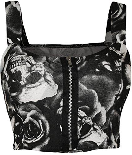 WearAll - Damen reißverschluss Bandeau Boobtube gepolsterte Trageriemen Crop Top Bralet - Skull Roses - 36-38
