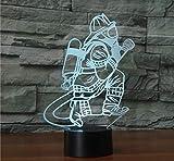 XDOUBAO Bombero Bombero camión acrílico 7 Colores Escritorio lámpara lámpara 3D Novedad Noche luz-Blanco cálido