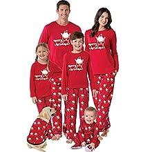 K-youth Ropa de Casa Familia Conjunto de Pijamas Familiares Unisexo Papá Noel Pijamas de Navidad Familiares Ropa de Dormir Padre Hijo Manga Larga Tops y Pantalones Largos(Mujer, XL)
