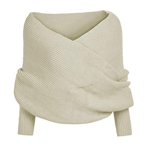Huaheng Vrouwen Gebreide Trui Tops Sjaal met Mouw Wrap Winter Warme Sjaal Sjaals Beige