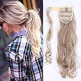 SEGO Queu de Cheval Postiche Ponytail Extension Cheveux Boucle - 43 CM Marron Sandy Mèche Blond tres Clair - Rajout Synthetique Extension a Clip pas Cher Longue