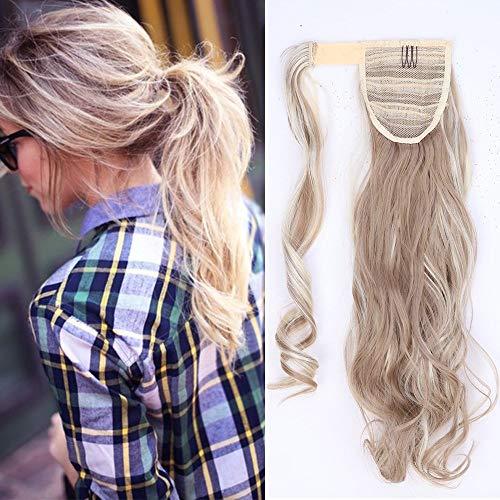 Ponytail Clip in Pferdeschwanz Extension Haarteil Haarverlängerung Zopf Hair Piece gewellt Wavy wie Echthaar Sandy Blonde & Blond Bleichen Wavy-17