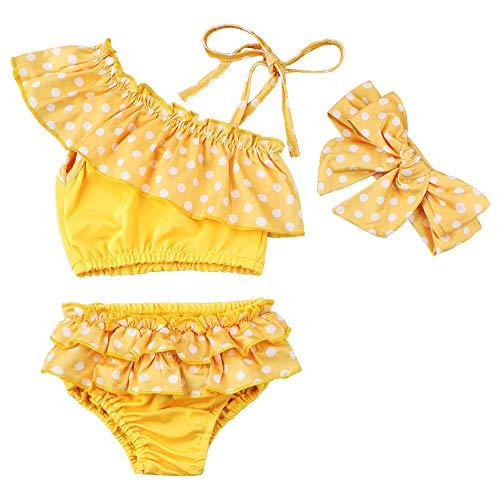 Tuemos, costume da bagno per bambina, in tre pezzi, carino a pois, senza maniche, con balze, top e mini pantaloncini