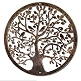 Rustic Farmhouse Decor Metal Tree of Life Wall 12 Inches Hanging Art Village Sculpture Brown Tree of Life Decorative Birds on Branches Round Contemporary Wall Hanging Garden Art Sculpture