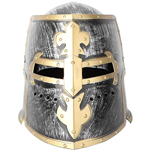 SOIMISS Edad Media Medieval Cruzado Caballero Soldado Guerrero Disfraz Casco Cosplay Accesorios