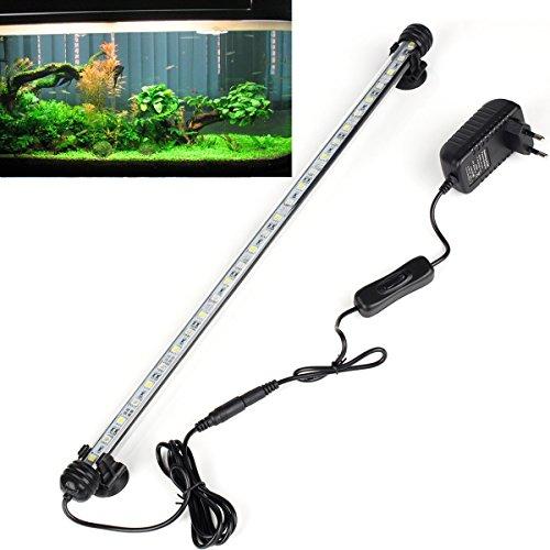 DOCEAN 48cm Weiß Leuchte Aquarium Beleuchtung 27x 5050SMD Lampe wasserfest Unterwasserlicht langsames Aufleuchten Deko für Aquarium Fische Tank
