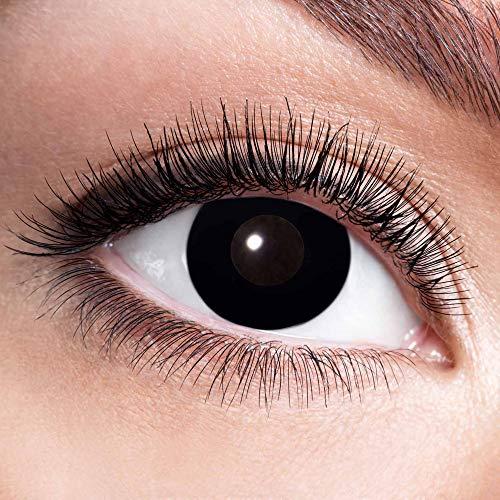 Alsino Farbige Kontaktlinsen Wochenlinsen 1 Paar Bunt Gruselig ohne Stärke für Mottopartys Halloween Fastnacht Karneval Fasching Kostüm Accessoire, (w01) Black Witch
