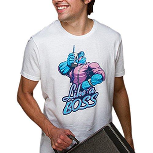 League of Legends Mundo T-Shirt Blanc Chemise de Jeu sous Licence Gros caractères Avant - M