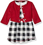 Touched by Nature Baby Girls Organic Cotton Dress and Cardigan, Black Plaid, 3-Toddler