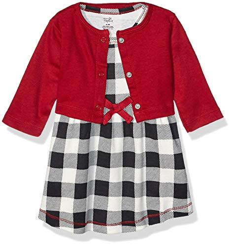 Touched by Nature Baby Girls' Organic Cotton Dress and Cardigan, Black Plaid, 12-18 Months